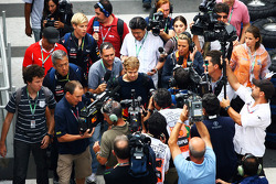 Sebastian Vettel, Red Bull Racing arrives at the circuit