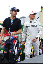 Sebastian Vettel, Red Bull Racing and Michael Schumacher, Mercedes AMG F1 on the drivers parade