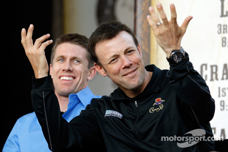 Matt Kenseth and Carl Edwards during the newlywed game