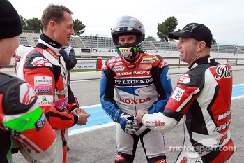 Michael Schumacher, John McGuinness and Randy Mamola