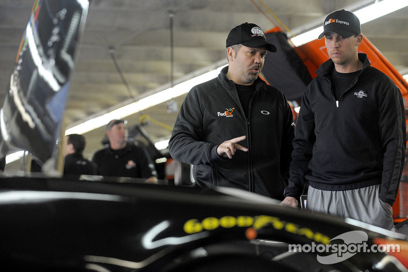 Crew chief Darian Grubb and Denny Hamlin, Joe Gibbs Racing Toyota