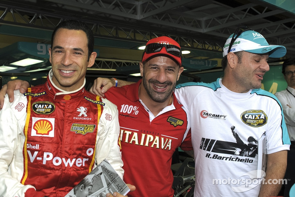 Helio Castroneves, Tony Kanaan and Rubens Barrichello