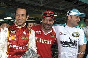 Brazilian racers Helio Castroneves, Tony Kanaan and Rubens Barrichello in Brazilian Stock Car event at Interlagos