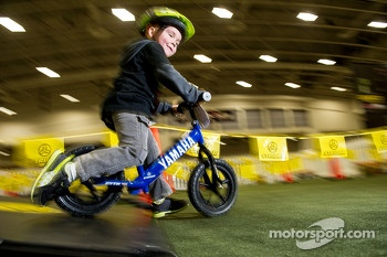 3 year old Rhys Rooney from Fisherville VA is pinned on the Stryder bike course