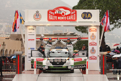 Podium: S2000 winners Sepp Wiegand and Timo Gottschalk, Skoda Fabia S2000