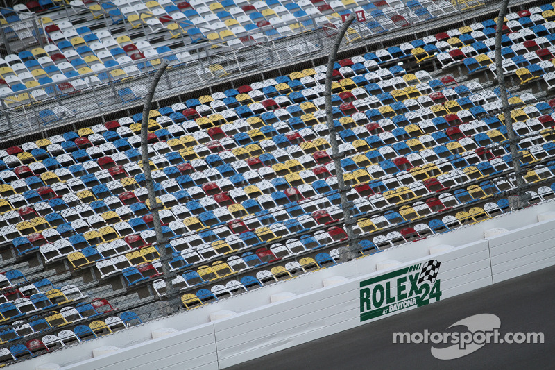 Seats awaiting fans at the Rolex 24