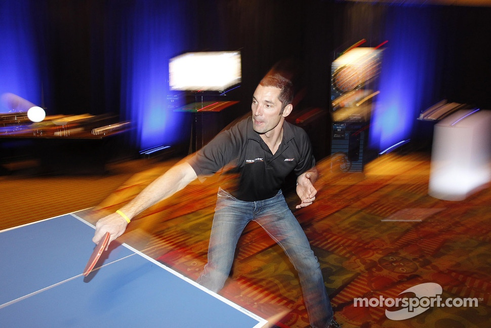 Max Papis playing table tennis