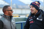 Lewis Hamilton, Mercedes AMG F1 with Jean-Eric Vergne, Scuderia Toro Rosso