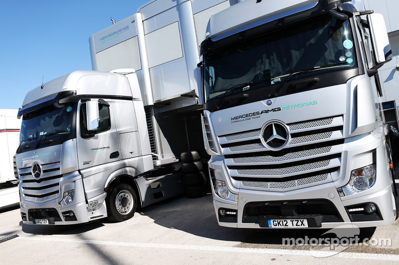 Mercedes AMG F1 trucks in the paddock