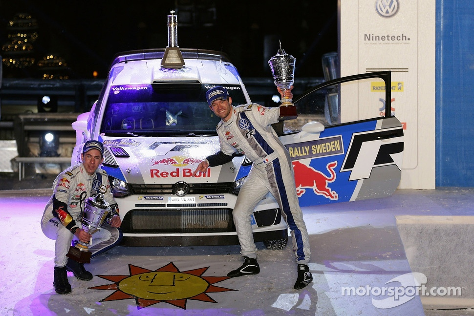 Podium: winners Sbastien Ogier and Julien Ingrassia, Volkswagen Polo WRC, Volkswagen Motorsport