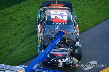Wrecked car ofJustin Boston