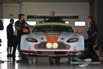 The Aston Martin GTE in the garage