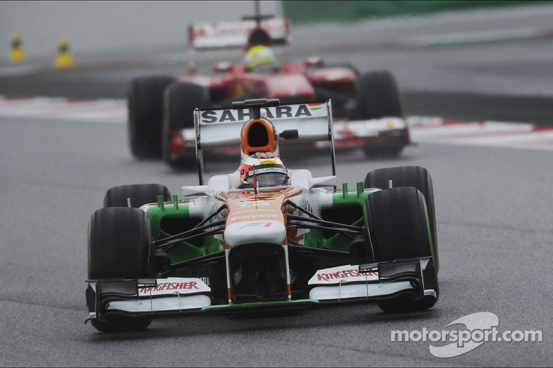 Jules Bianchi, Sahara Force India F1 Team VJM06 leads Felipe Massa, Ferrari F138