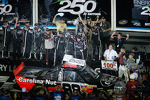 Victory lane: race winner Johnny Sauter celebrates