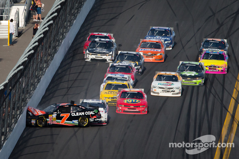 Last lap crash: Brad Keselowski pushes Regan Smith into the wall