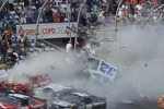 Last lap crash: Kyle Larson crashes into the catch fence