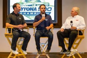 2013 Daytona 500 winner Jimmie Johnson, Hendrick Motorsports Chevrolet, with crew chief Chad Knaus and team owner Rick Hendrick