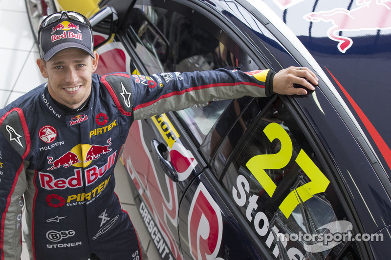 Casey Stoner with the Holden he will drive in the Dunlop Development Series