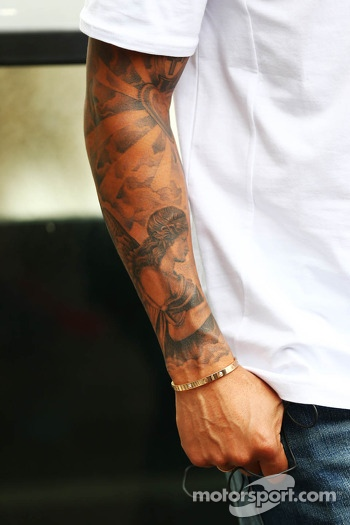 The tattooed arm of Lewis Hamilton, Mercedes AMG F1