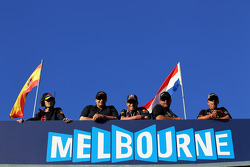 Fans above the Melbourne sign