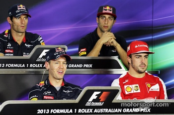 Sebastian Vettel, Red Bull Racing and Fernando Alonso, Ferrari in the FIA Press Conference