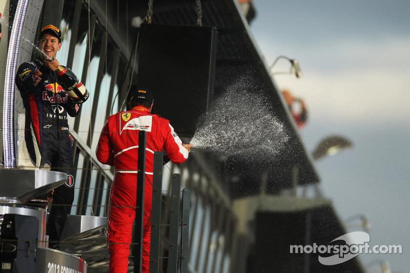 Sebastian Vettel, Red Bull Racing and Fernando Alonso, Ferrari celebrate on the podium