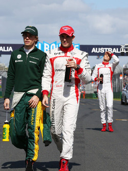 (L to R): Charles Pic, Caterham and Jules Bianchi, Marussia F1 Team on the drivers parade