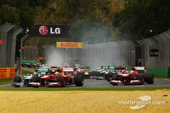 Felipe Massa, Ferrari F138 and Fernando Alonso, Ferrari F138 at the start of the race