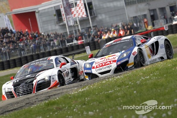 #12 Belgian Audi Club Team WRT Audi R8 LMS ultra: Ren Rast, Niki Mayr-Melnhof and #9 Sbastien Loeb Racing McLaren MP4-12C: Sbastien Loeb, Alvaro Parente