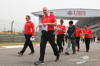 John Booth, Marussia F1 Team Team Principal walks the circuit
