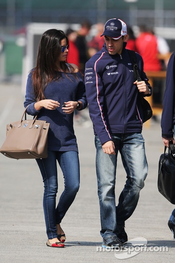 Pastor Maldonado, Williams with his wife Gabriele Tarkanyi