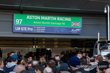 Fans at the Aston Martin garage