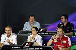 The FIA Press Conference, Pirelli Motorsport Director; Eric Boullier, Lotus F1 Team Principal; Martin Whitmarsh, McLaren Chief Executive Officer; Monisha Kaltenborn, Sauber Team Principal; Stefano Domenicali, Ferrari General Director