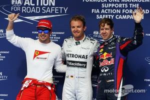 The top three qualifiers in Parc Ferme: Fernando Alonso, Ferrari, third; Nico Rosberg, Mercedes AMG F1, pole position; Sebastian Vettel, Red Bull Racing, second