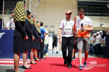 (L to R): Jenson Button, McLaren and Paul di Resta, Sahara Force India F1 on the drivers parade