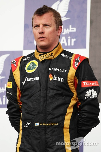 Kimi Raikkonen, Lotus F1 Team on the podium