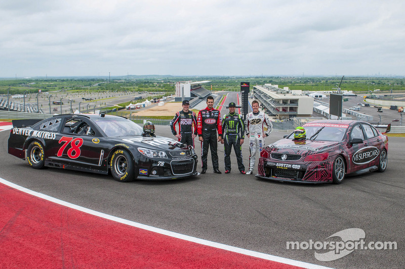 Motocross champion Chad Reed, V8 Supercar drivers James Courtney and Fabian Coulthard with NASCAR driver Kurt Busch