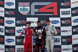 F4 Podium from left: Jake Hughes, Matt Bell, and Seb Morris