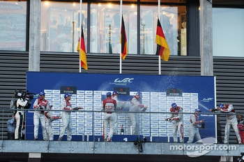 Podium: winners Andre Lotterer, Benoit Trluyer, Marcel Fssler, second place Tom Kristensen, Loc Duval, Allan McNish, third place Lucas di Grassi, Marc Gene, Oliver Jarvis