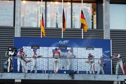 Podium: winners Andre Lotterer, Benoit Tréluyer, Marcel Fässler, second place Tom Kristensen, Loïc Duval, Allan McNish, third place Lucas di Grassi, Marc Gene, Oliver Jarvis