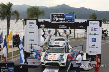 Podium: third place Jari-Matti Latvala and Miikka Anttila