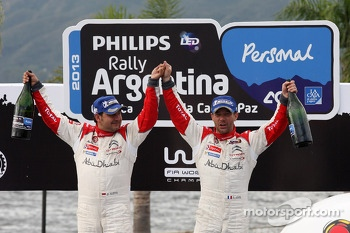 Podium: winners Sébastien Loeb and Daniel Elena, Citroën DS3 WRC, Citroën Total Abu Dhabi World Rally Team