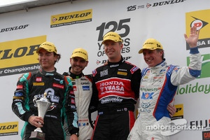 Round 7 podium 1st Matt Neal, 2nd Jason Plato, 3rd Tom Onslow-Cole and JST winner Liam Griffin
