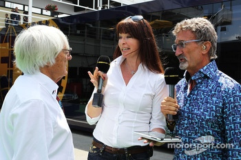 (L to R): Bernie Ecclestone, CEO Formula One Group, with Suzi Perry, BBC F1 Presenter and Eddie Jordan, BBC Television Pundit