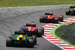 Max Chilton, Marussia F1 Team MR02 leads Jules Bianchi, Marussia F1 Team MR02 and Charles Pic, Caterham CT03