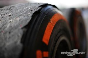 Worn Pirelli tyre