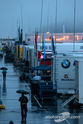 A wet and quiet paddock area
