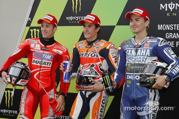 Polesitter Marc Marquez, Repsol Honda Team, second place Jorge Lorenzo, Yamaha Factory Racing, third place Andrea Dovizioso, Ducati Team