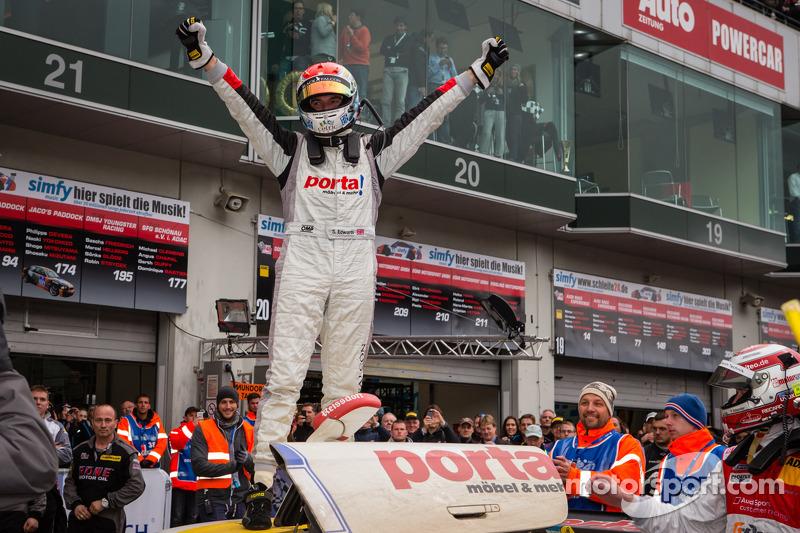 Race winner Sean Edwards celebrates