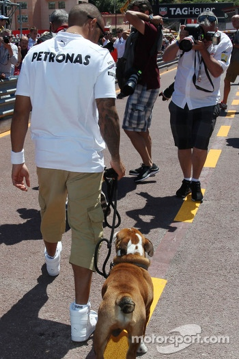 Lewis Hamilton, Mercedes AMG F1 with his dog Roscoe